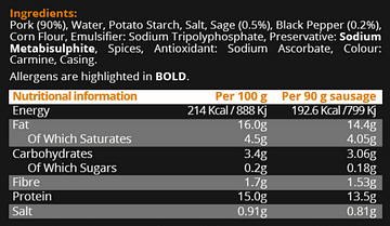 The Hodders Lane Nutritional Information and Ingredients