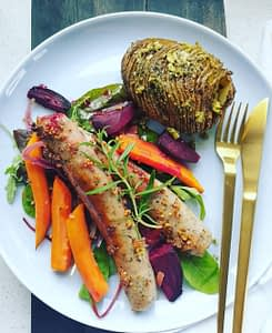 Oven Baked Garlic and Herb Sausages