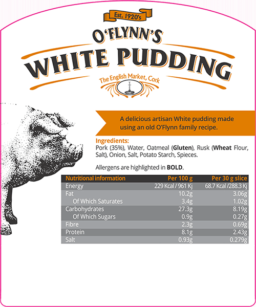 White Pudding Packaging Label