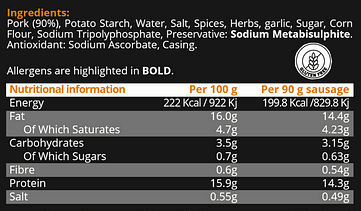 Nutritional info and ingredients The Sweet Italian